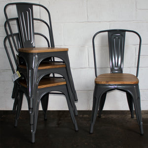 7PC Taranto Table & 6 Palermo Chairs Set - Graphite Grey