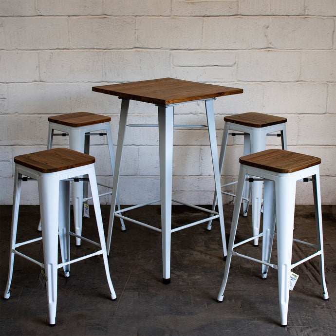 5PC Lodi Table & Firenze Bar Stool Set - White
