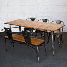 5PC Taranto Table, 3 Florence Chairs & Nuoro Bench Set - Steel