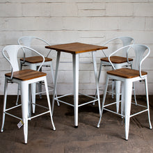 5PC Lodi Table & Licata Bar Stool Set - White