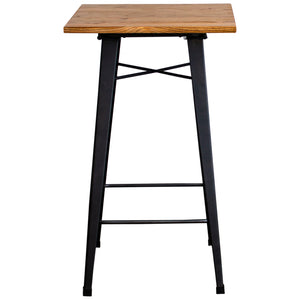 3PC Lodi Table & Pascale Bar Stool Set - Onyx Matt Black