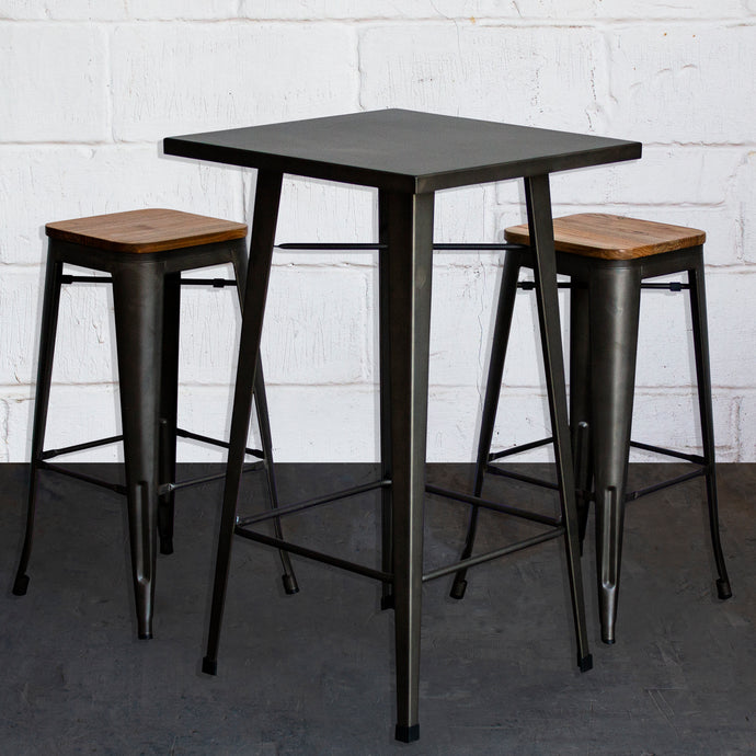 3PC Laus Table & Firenze Bar Stool Set - Gun Metal Grey