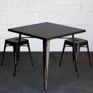 3PC Belvedere Table & Castel Stool Set - Gun Metal Grey