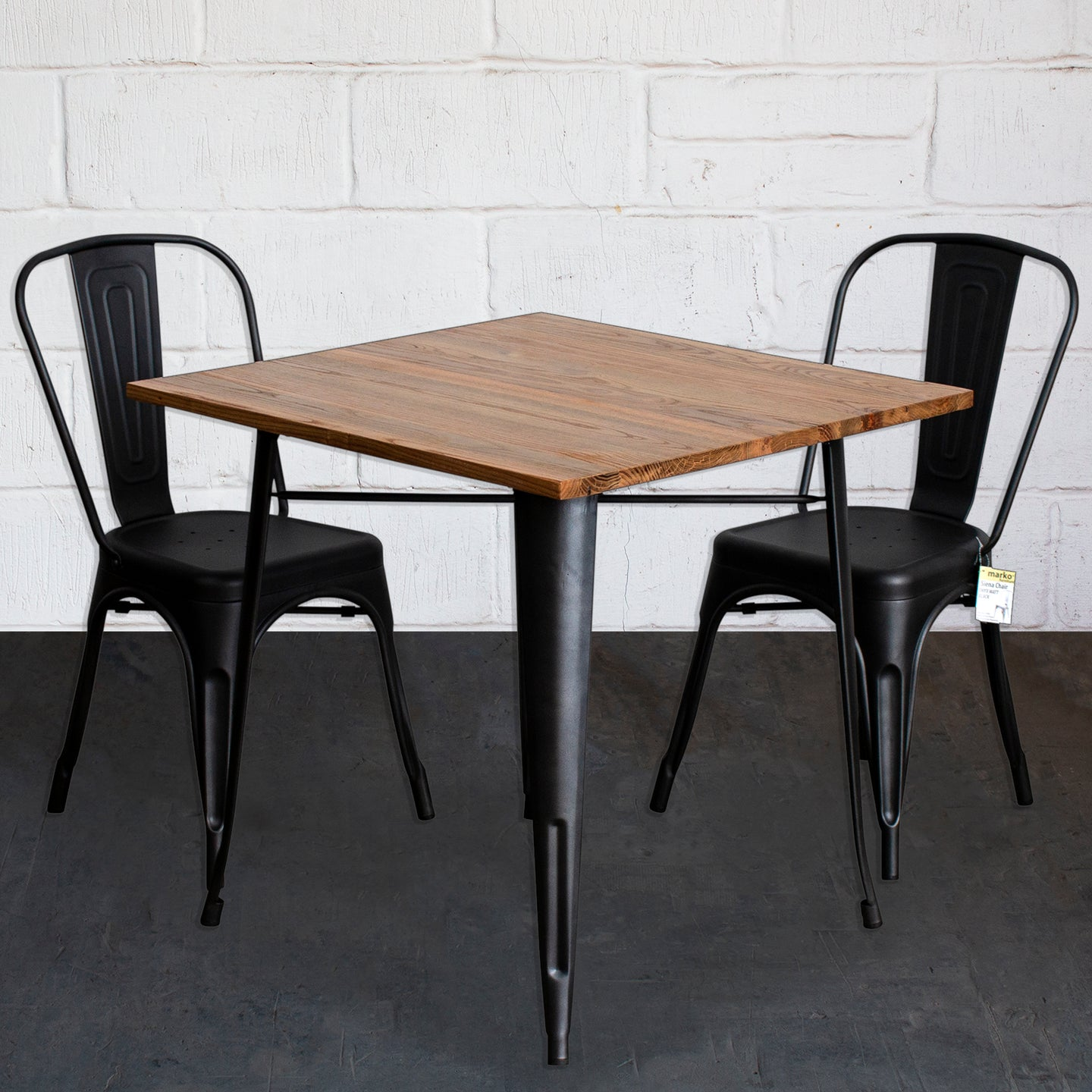 3PC Enna Table & Siena Chair Set - Onyx Matt Black