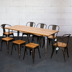 9PC Taranto Table, 2 Florence Chairs, 3 Palermo Chairs & 3 Rho Stools Set - Gun Metal Grey