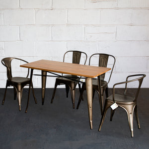 5PC Prato Table, 2 Forli & 2 Siena Chairs Set - Gun Metal Grey