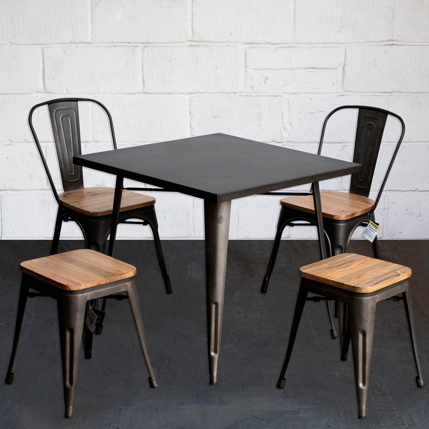5PC Belvedere Table Palermo Chair & Rho Stool Set - Gun Metal Grey