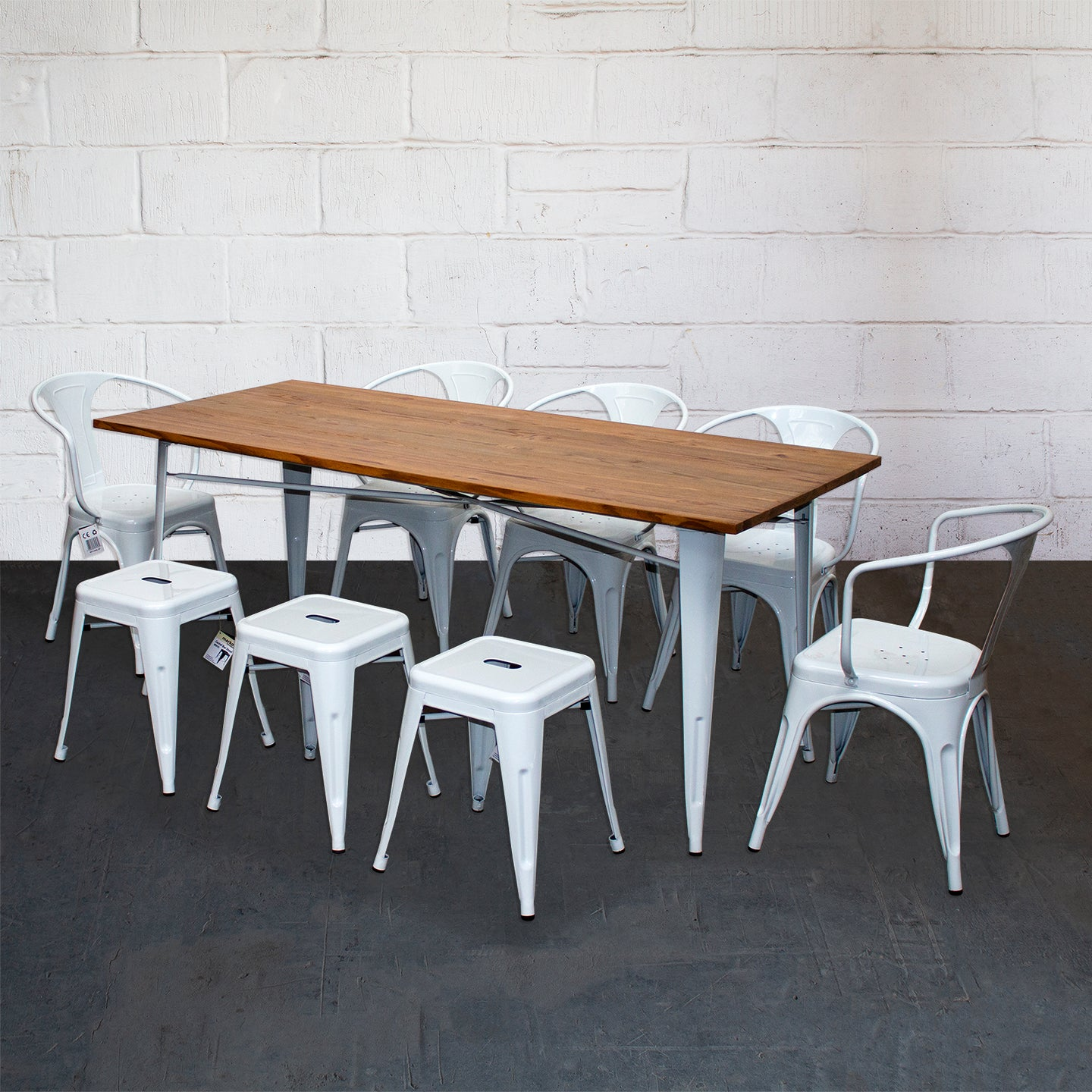 9PC Taranto Table, 5 Forli Chairs & 3 Castel Stools Set - White
