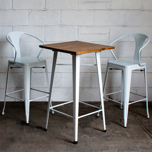 3PC Lodi Table & Favara Bar Stool Set - White
