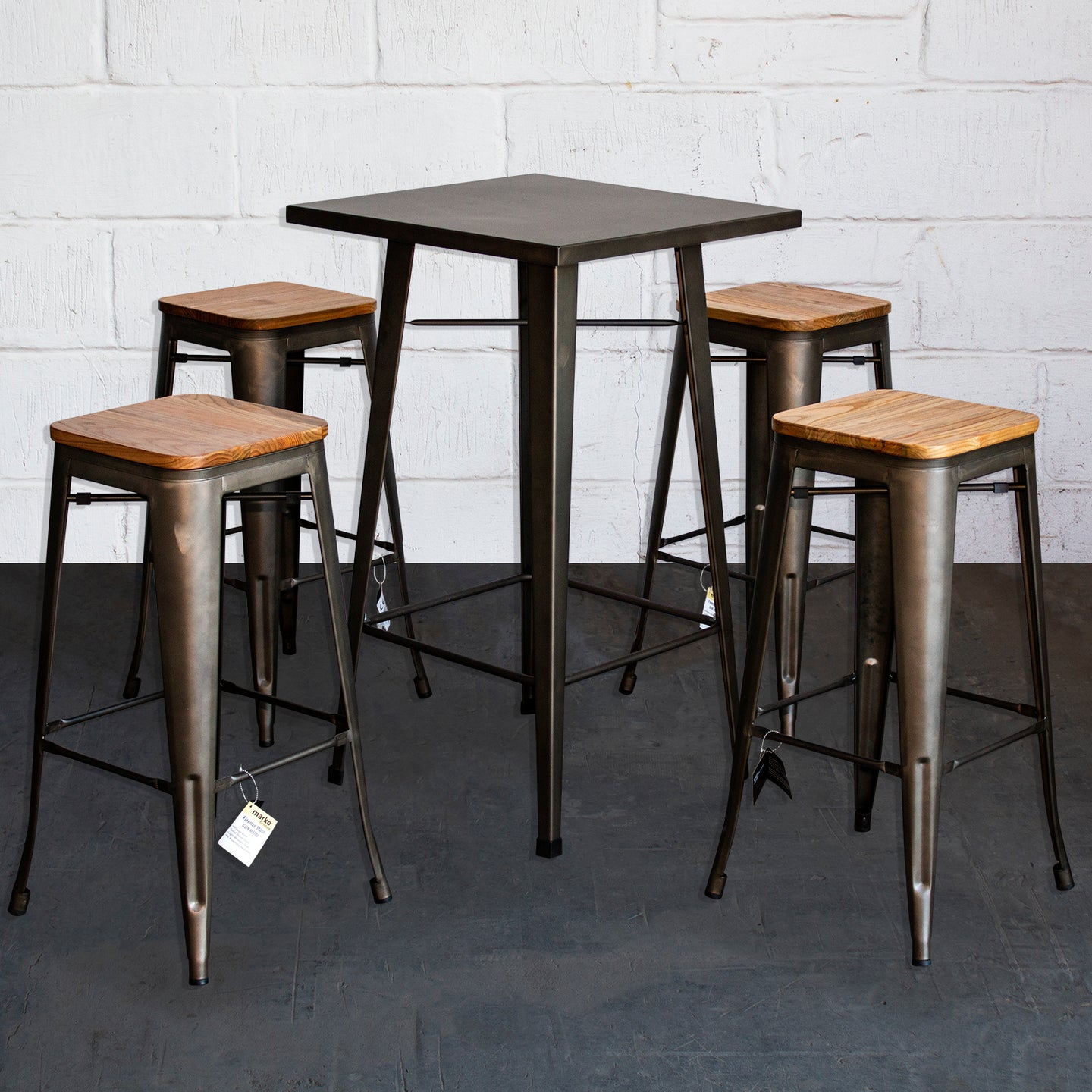 5PC Laus Table & Firenze Bar Stool Set - Gun Metal Grey