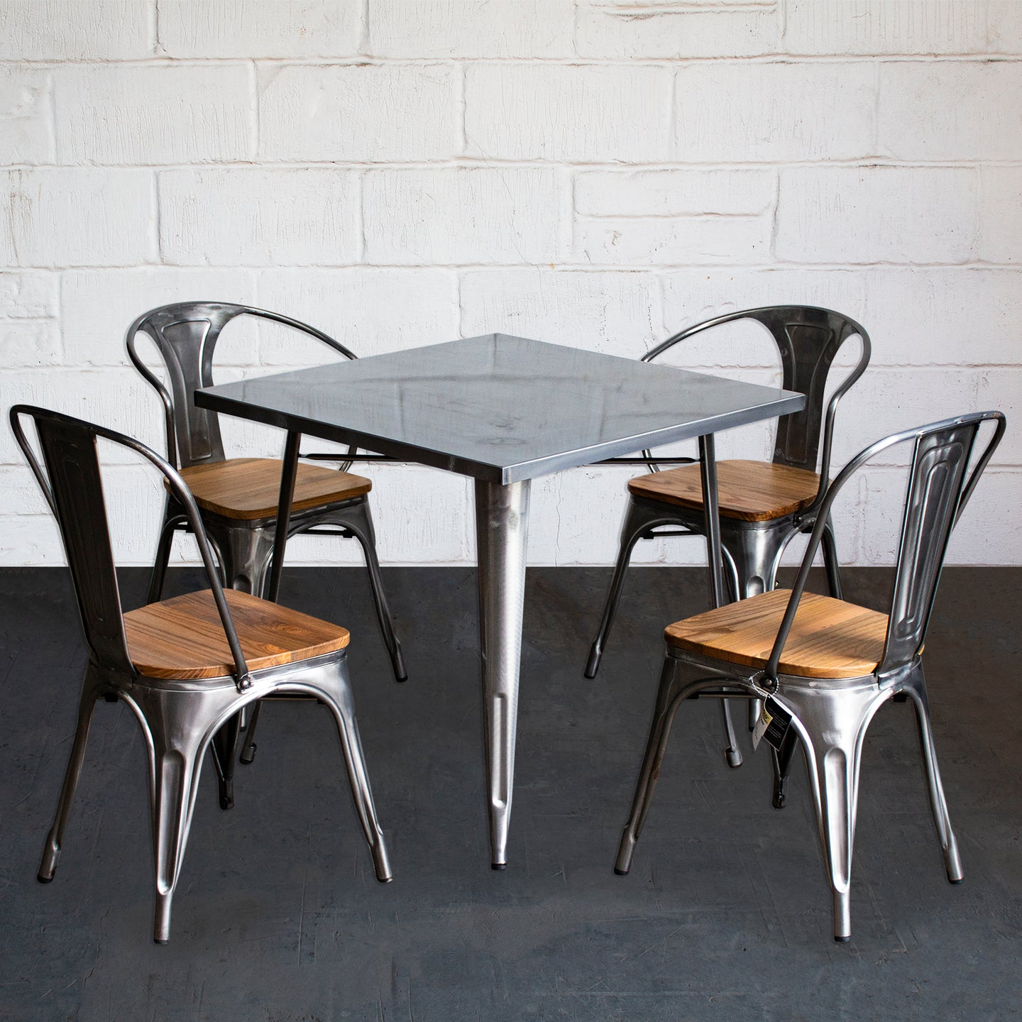 5PC Belvedere Table Florence & Palermo Chairs Set - Steel