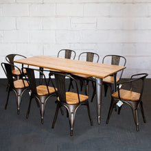 9PC Taranto Table, 2 Florence & 6 Palermo Chairs Set - Gun Metal Grey