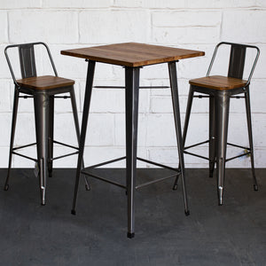 3PC Lodi Table & Tuscany Bar Stool Set - Steel