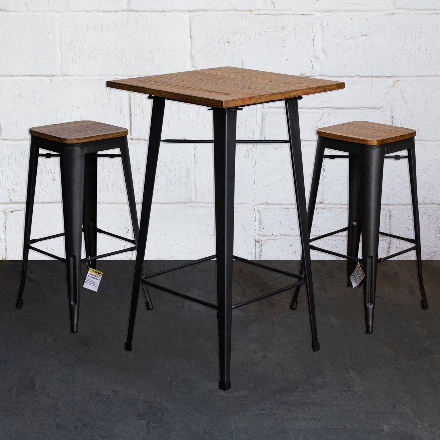3PC Lodi Table & Firenze Bar Stool Set - Onyx Matt Black