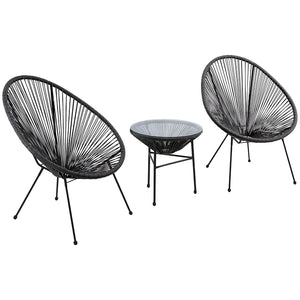 3PC Rattan Egg Set - Black
