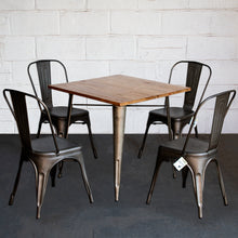 5PC Enna Table & Siena Chair Set - Gun Metal Grey