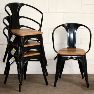 7PC Taranto Table, 3 Florence Chairs & 3 Rho Stools Set - Black