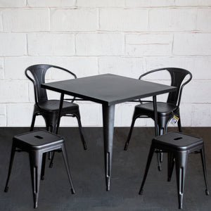 5PC Belvedere Table Forli Chair & Castel Stool Set - Onyx Matt Black