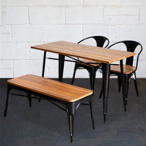 4PC Prato Table, 2 Florence Chairs & Sicily Bench Set - Black