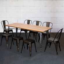 9PC Taranto Table, 5 Siena Chairs & 3 Castel Stools Set - Gun Metal Grey