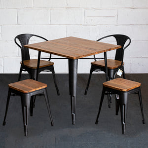 5PC Enna Table Florence Chair & Rho Stool Set - Onyx Matt Black
