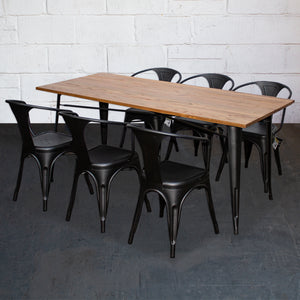 7PC Taranto Table & 6 Forli Chairs Set - Onyx Matt Black