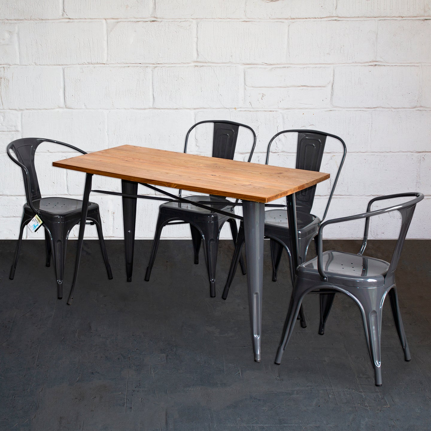 5PC Prato Table, 2 Forli & 2 Siena Chairs Set - Graphite Grey