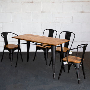 5PC Prato Table, 2 Florence & 2 Palermo Chairs Set - Onyx Matt Black