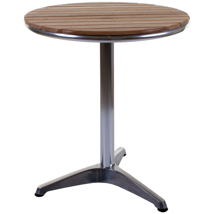 Savannah Bistro Table - Chrome & Ash Wood