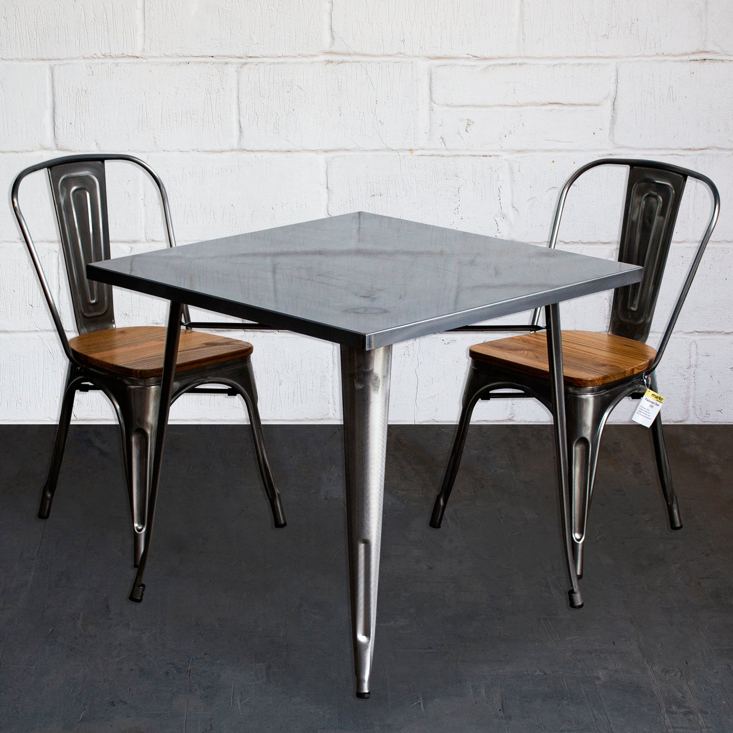 3PC Belvedere Table & Palermo Chair Set - Steel