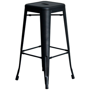 3PC Lodi Table & Orvieto Bar Stool Set - Onyx Matt Black