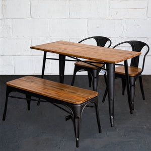 4PC Prato Table, 2 Florence Chairs & Sicily Bench Set - Onyx Matt Black