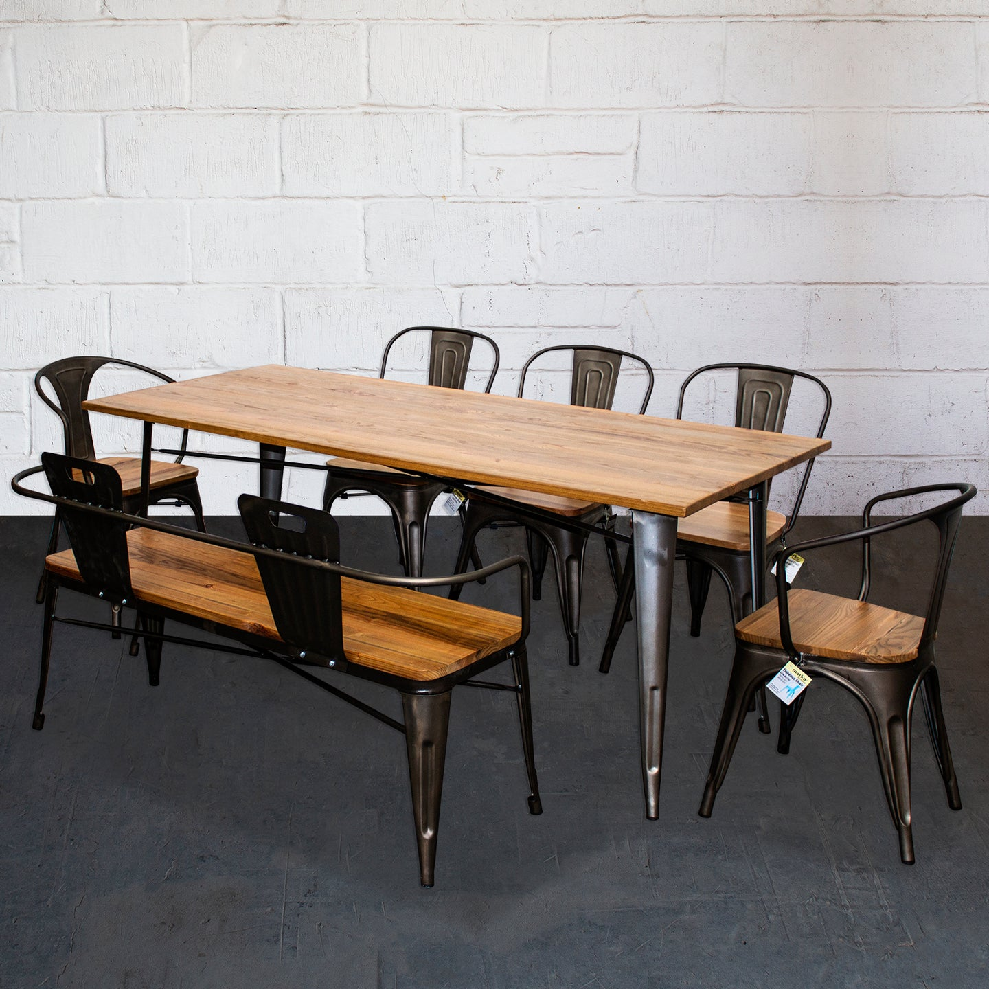 7PC Taranto Table, 2 Florence Chairs, 3 Palermo Chairs & Nuoro Bench Set - Gun Metal Grey
