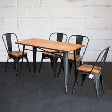 5PC Prato Table & 4 Palermo Chairs Set - Graphite Grey