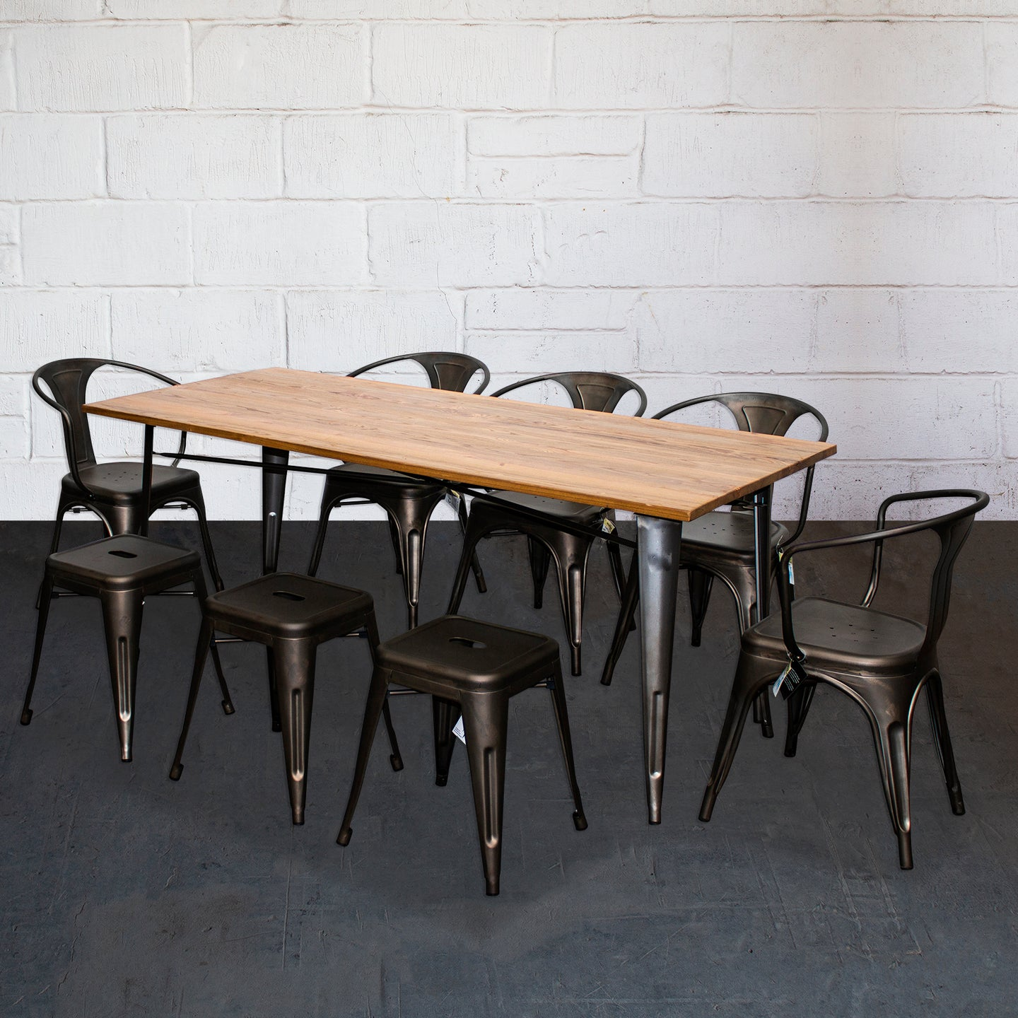 9PC Taranto Table, 5 Forli Chairs & 3 Castel Stools Set - Gun Metal Grey