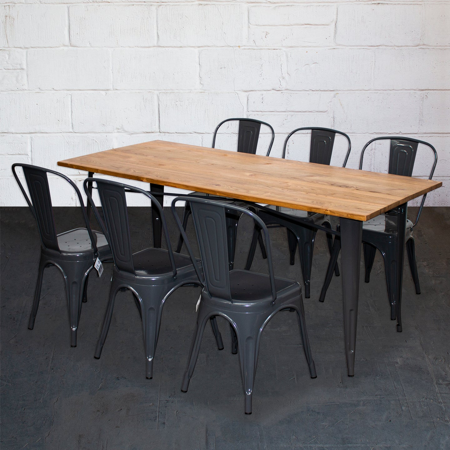 7PC Taranto Table & 6 Siena Chairs Set - Graphite Grey