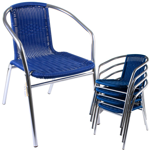 Blue Wicker Chrome Bistro Chair