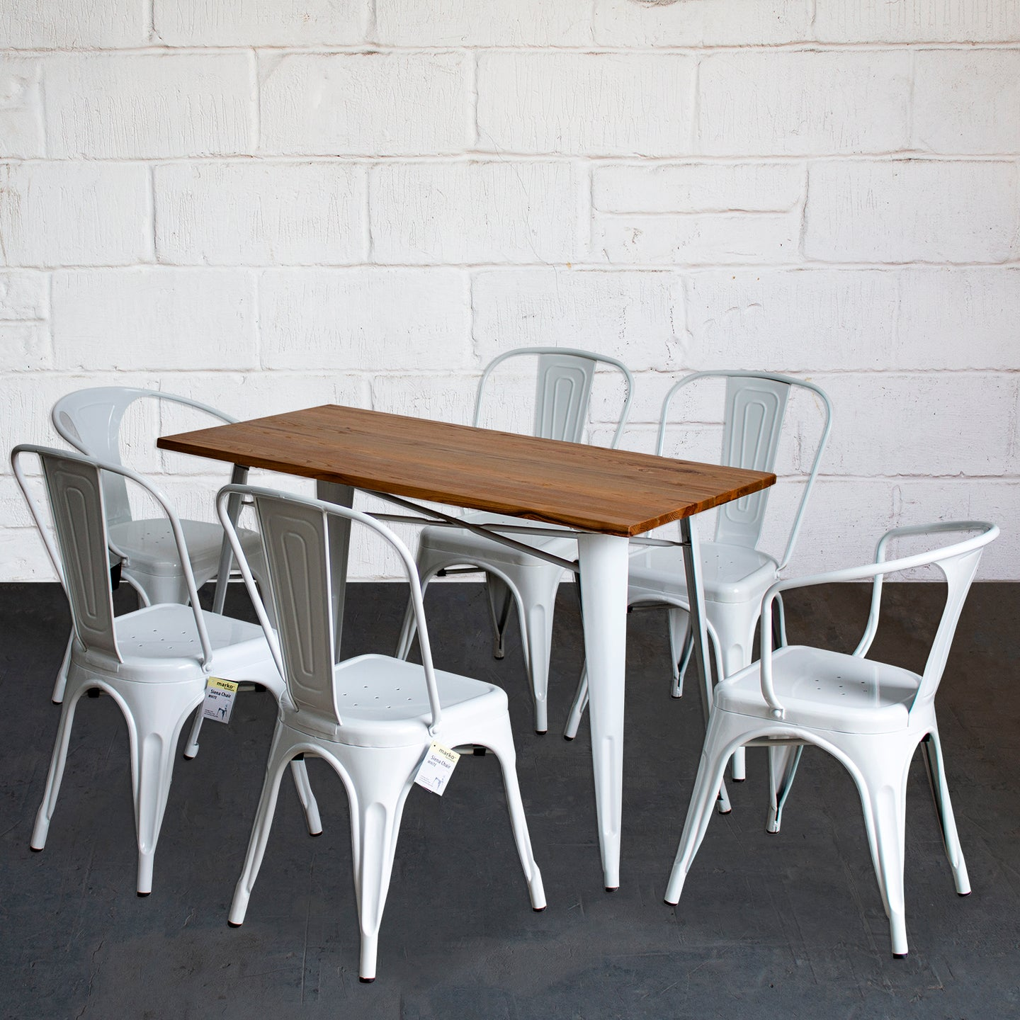 7PC Prato Table, 2 Forli & 4 Siena Chairs Set - White