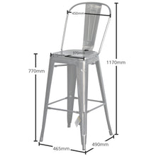 5PC Laus Table & Pascale Bar Stool Set - Steel