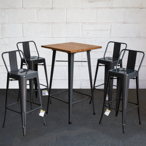 5PC Lodi Table & Naples Bar Stool Set - Graphite Grey