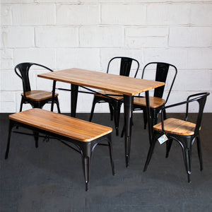 6PC Prato Table, 2 Florence Chairs, 2 Palermo Chairs & Sicily Bench Set - Black