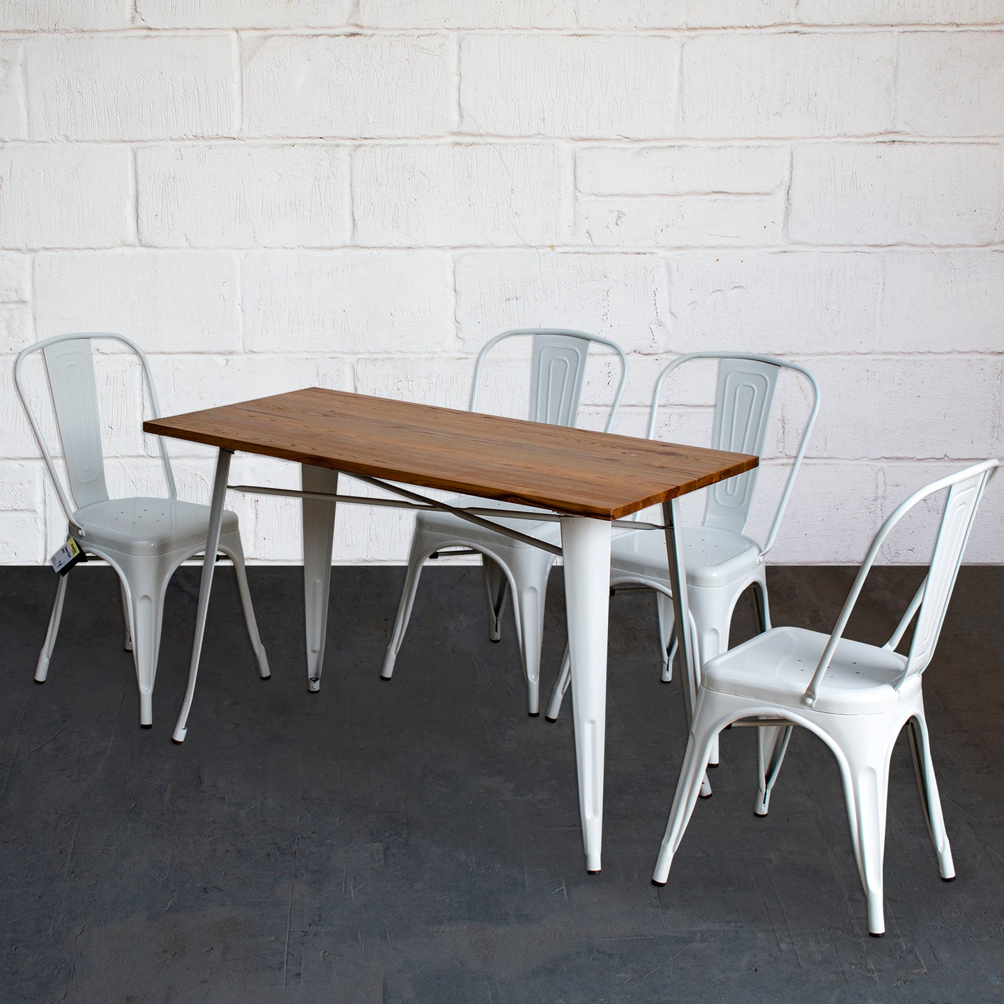 5PC Prato Table & 4 Siena Chairs Set - White