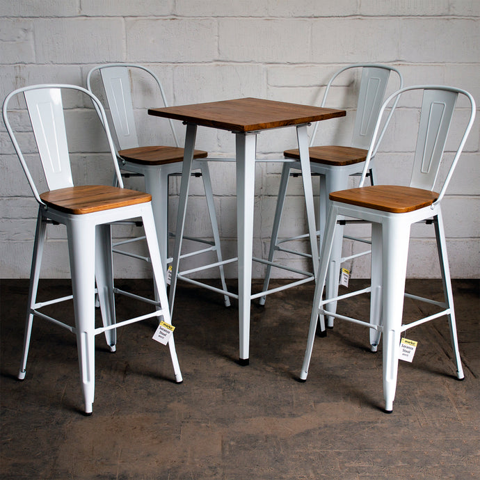 5PC Lodi Table & Soranzo Bar Stool Set - White