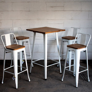 5PC Lodi Table & Tuscany Bar Stool Set - White