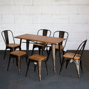 7PC Prato Table, 4 Palermo Chairs & 2 Rho Stools Set - Gun Metal Grey