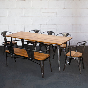 7PC Taranto Table, 5 Florence Chairs & Nuoro Bench Set - Steel