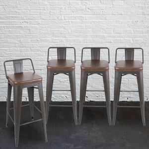 Set of 4 Rustic Bar Stools With Backrest