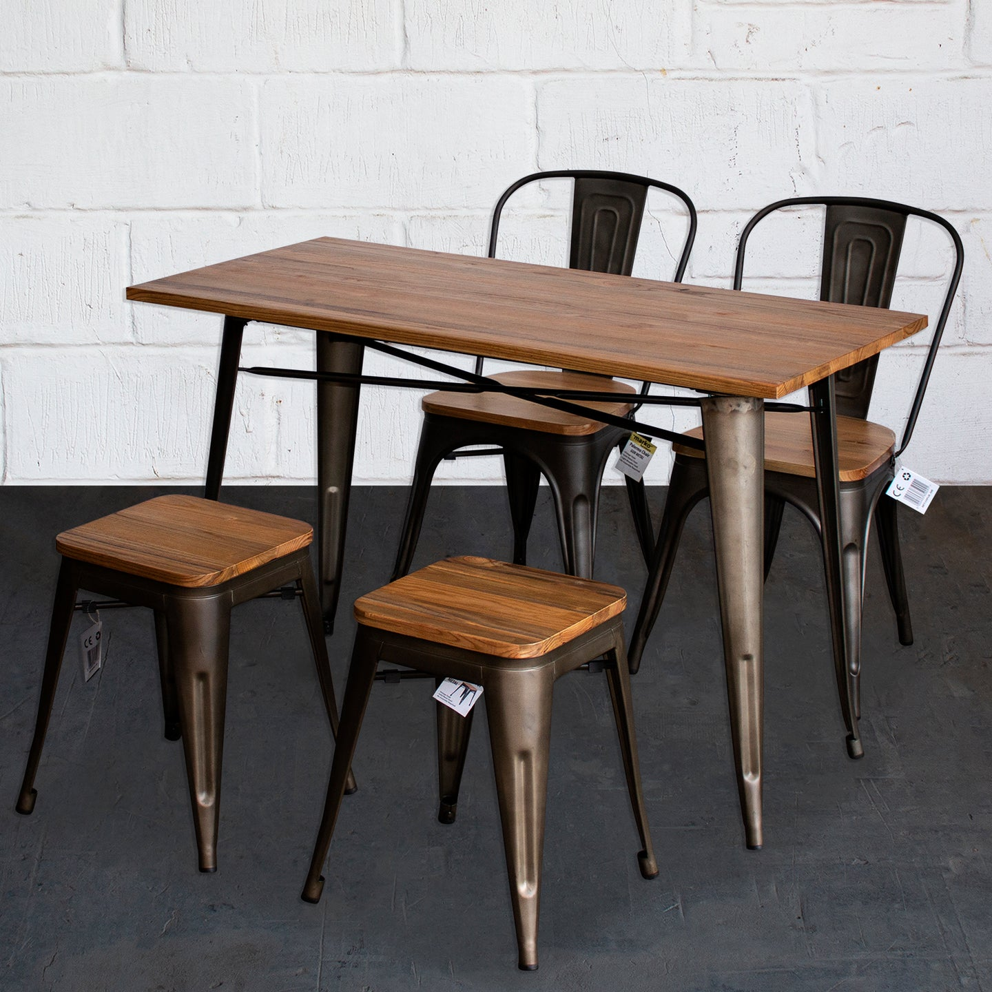 5PC Prato Table, 2 Palermo Chairs & 2 Rho Stools Set - Gun Metal Grey