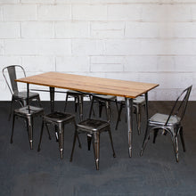 9PC Taranto Table, 2 Siena Chairs & 6 Castel Stools Set - Steel