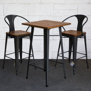 3PC Lodi Table & Licata Bar Stool Set - Graphite Grey